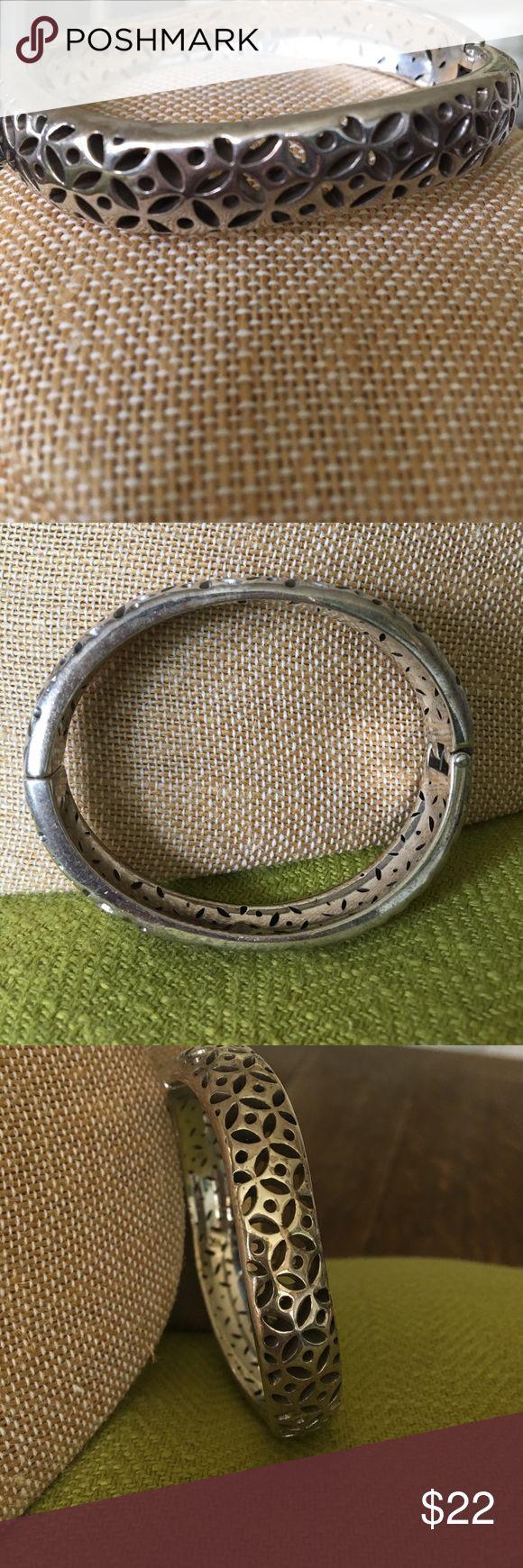 Brighton Bracelet Silver oval Brighton Bracelet. Magnetic closure. Cut out design. Some tarnishing but very pretty still. Brighton Jewelry Bracelets