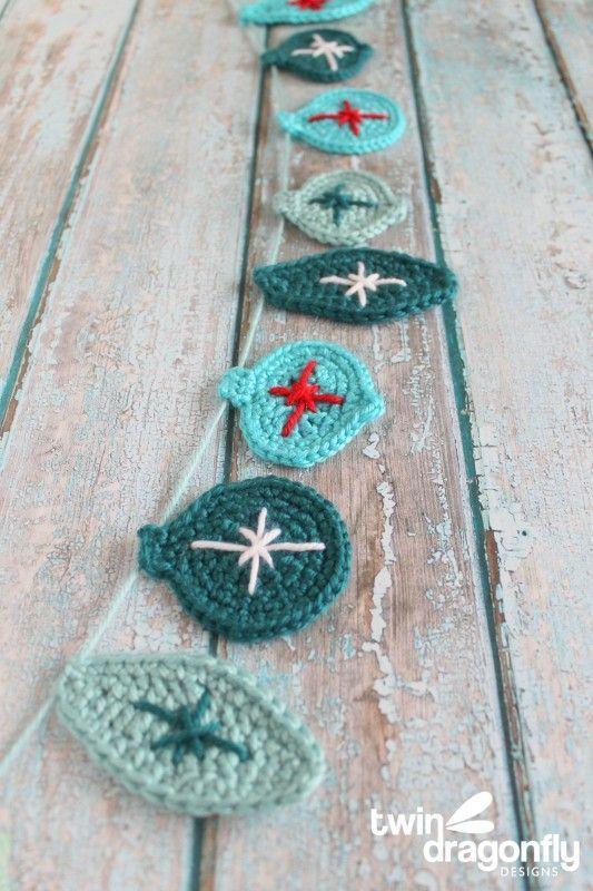 Crochet Christmas Ornament Garland                                                                                                                                                                                 More