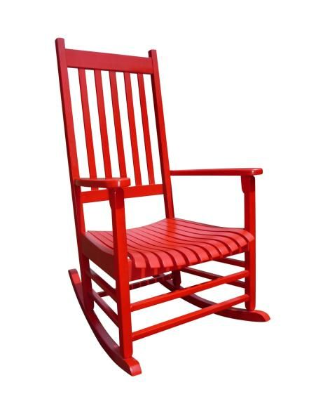Evenings are often spent reading in the cheery red rockers. International Concepts Somer Hunter rocking chair in red, $127.50, wayfair.com