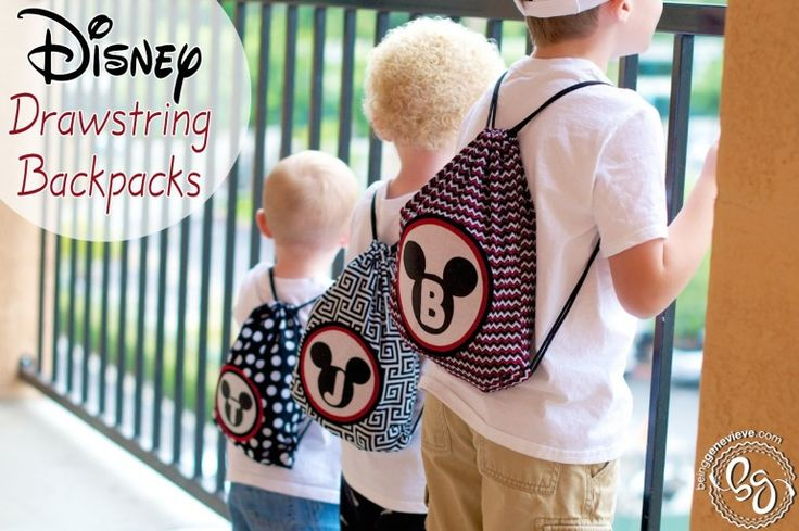 Love these DIY Disney Drawstring Backpacks!