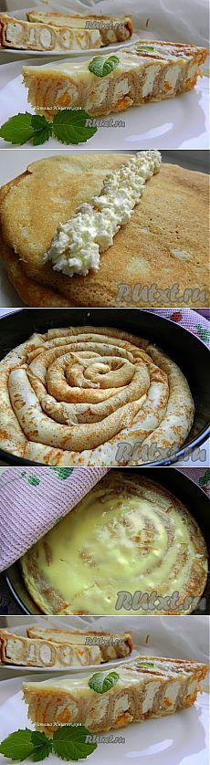 сладкий блинный пирог с творожной начинкой в нежной сметанной заливке.