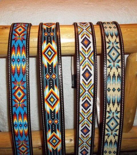 Custom made Leather belts with beaded by Deesbeadeddogcollars