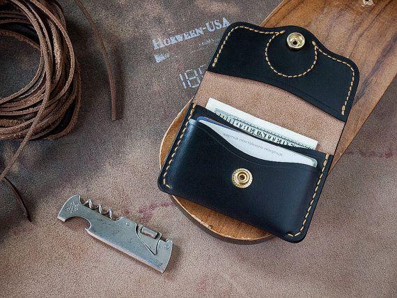 Horween negro cuero Chromexcel Snap Wallet por SHKIRA en Etsy