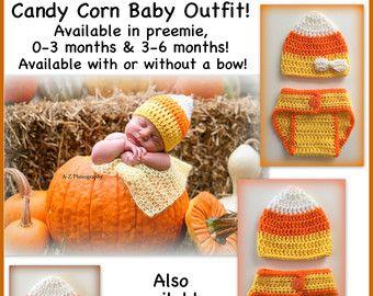 Traje de bebé LISTO PARA NAVE Candy maíz, sombrero de ganchillo y pañal cubierta, prematuro, 0-3 foto de recién nacido 3-6 meses meses prop bebé Halloween marrón