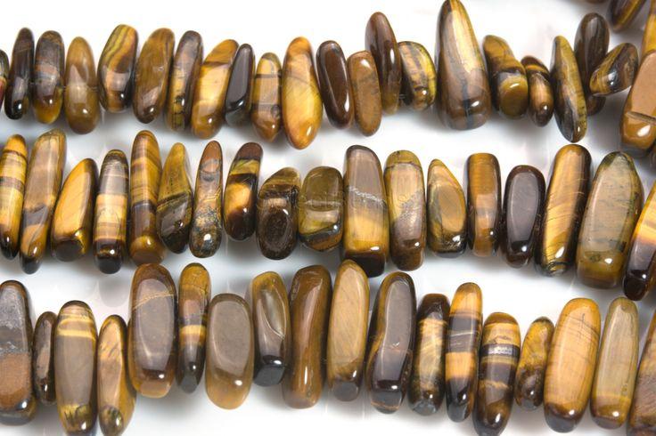 brown tiger eye stick beads - natural tiger eye sticks - yellow gemstone sticks - brown tiger eye stone - 13-20mm stick beads -15inch