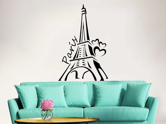 Eiffel tower wall decal vinyl stickers decals art home decor mural vinyl lettering wall decal paris