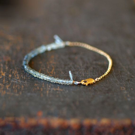 Aquamarine Ombre Bracelet, Beaded Gemstone Color Spectrum, Gold Filled Chain with Silk Cord, Delicate Jewelry