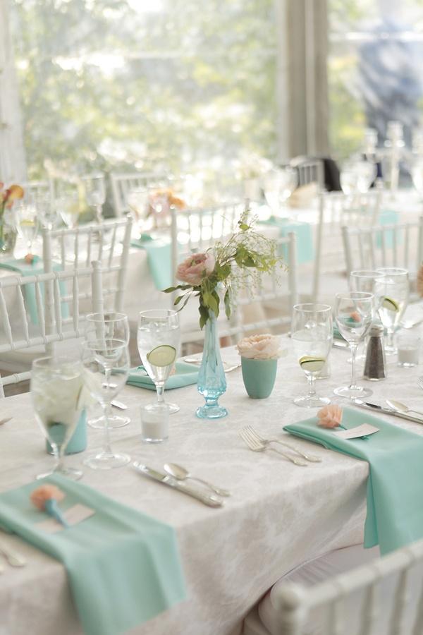 White and aqua tables