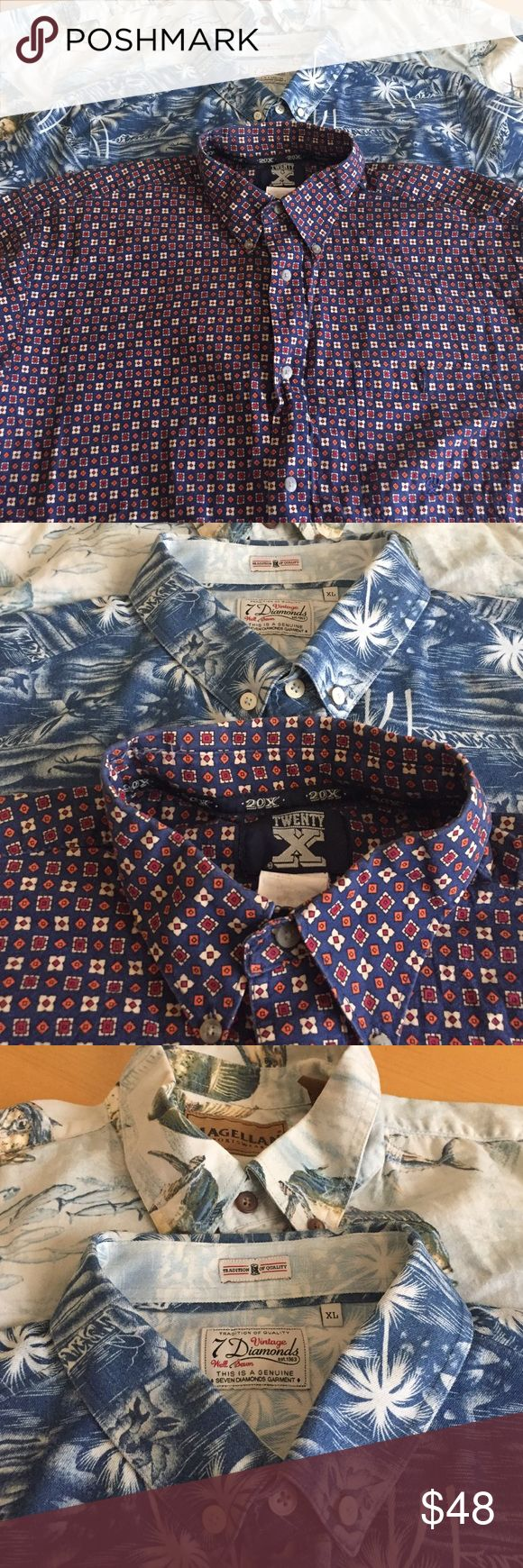 Lot of 3 Men's XL Short Sleeve Button Up 7 Diamond 7 diamonds, 20x, and Magellan great quality 7 Diamonds Shirts Casual Button Down Shirts