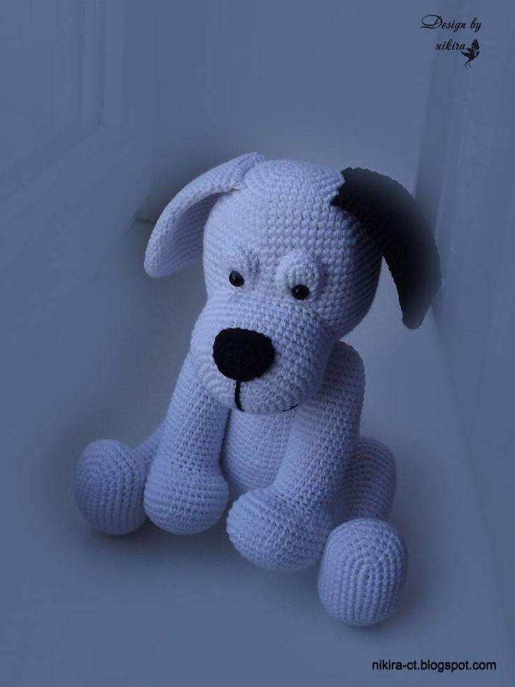 White crochet dog/Белая собака крючком ~ Nikira