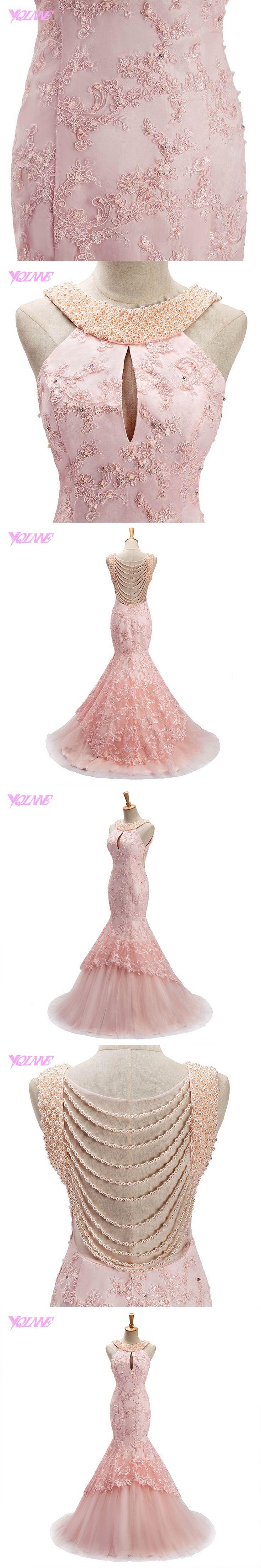 YQLNNE 2018 Blush Pink Long Prom Dresses Mermaid Evening Gown Halter Lace Tulle Pearls Vestido De Festa