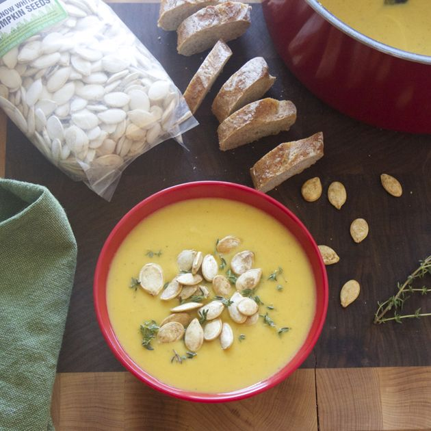 Fall Butternut Squash Soup with Toasted Fairway Pumpkin Seeds