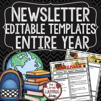 Newsletter Template • Editable Newsletter Template PowerPoint with Monthly Themes, perfect for weekly/monthly communication with school, parents, and families. You will love sending these digitally or as a hard copy weekly or monthly!