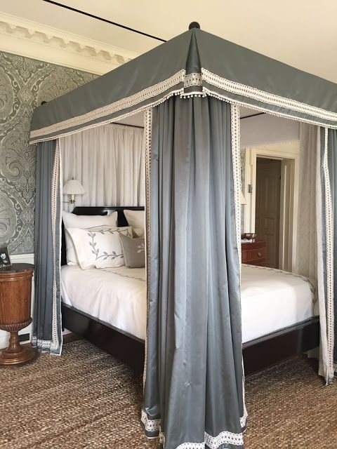 Canopy trim - gorgeous bedroom by Nina Campbell
