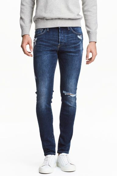 Skinny Low Trashed Jeans - Blu denim scuro - UOMO | H&M IT