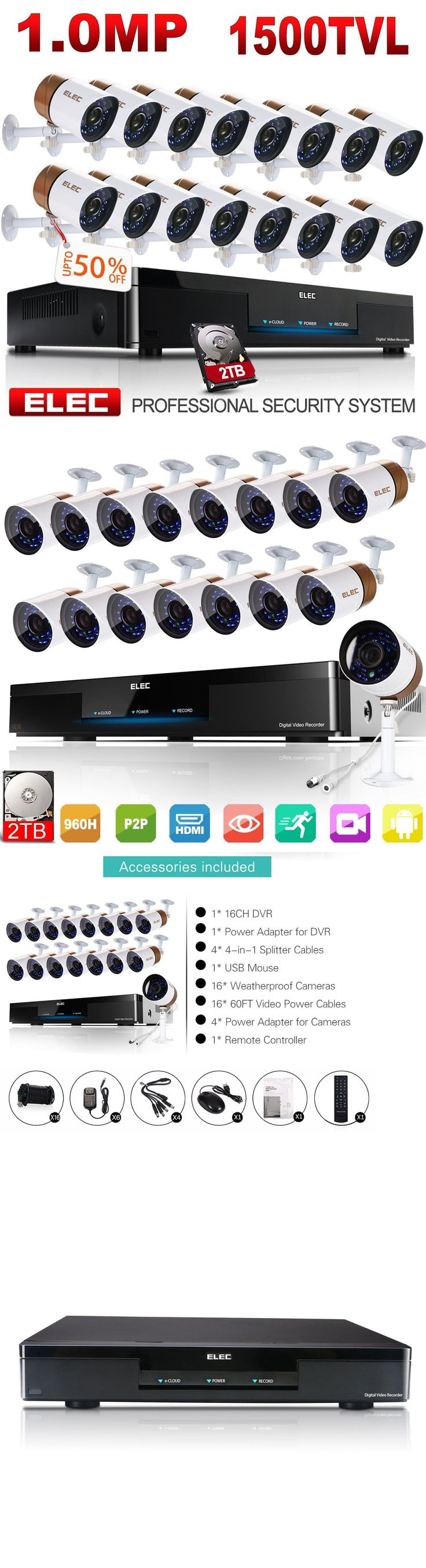 Surveillance Security Systems: Elec 16Ch 960H Hdmi Dvr Cctv Home Security Camera System Video Recorder 2Tb Hdd -> BUY IT NOW ONLY: $855.1 on eBay!