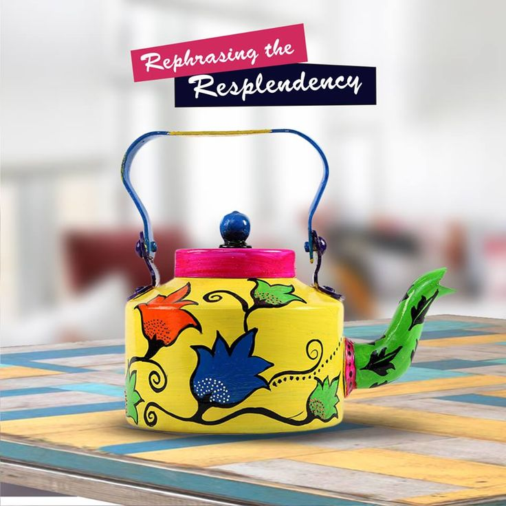 Revive your lifestyle with the splash of vibrant colors. Get attractive #Handpainted kettles from #RangRage.
