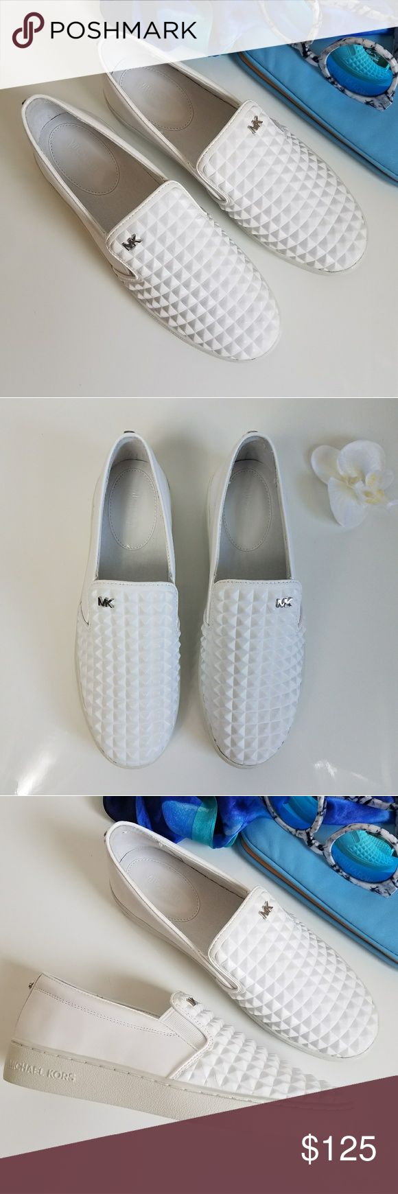 MICHAEL KORS 'PRATT' STUDDED SLIP ON SNEAKER Pyramid stud embossing and thin patent trim define this edgy and comfortable slip-on sneaker. Slip-on style. Leather upper/leather and textile lining/rubber sole. By MICHAEL Michael Kors. Brand new. MICHAEL Michael Kors Shoes Athletic Shoes