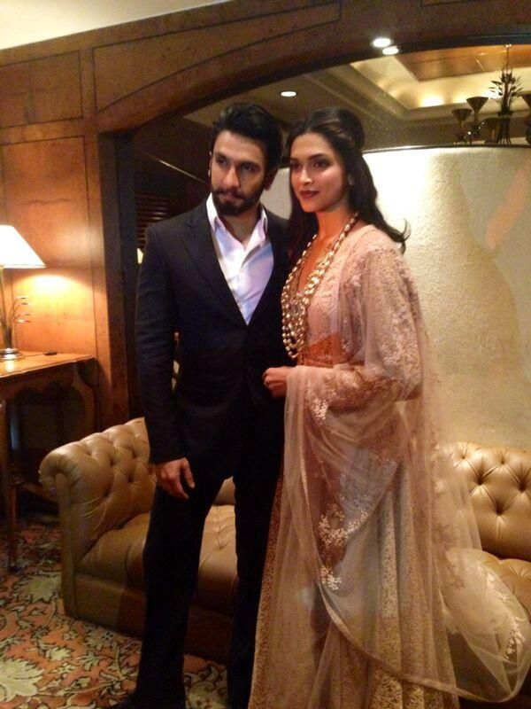 Ranveer Singh with Deepika Padukone during the film 'Ram-Leela' promotion #Bollywood #Fashion #Style #Beauty