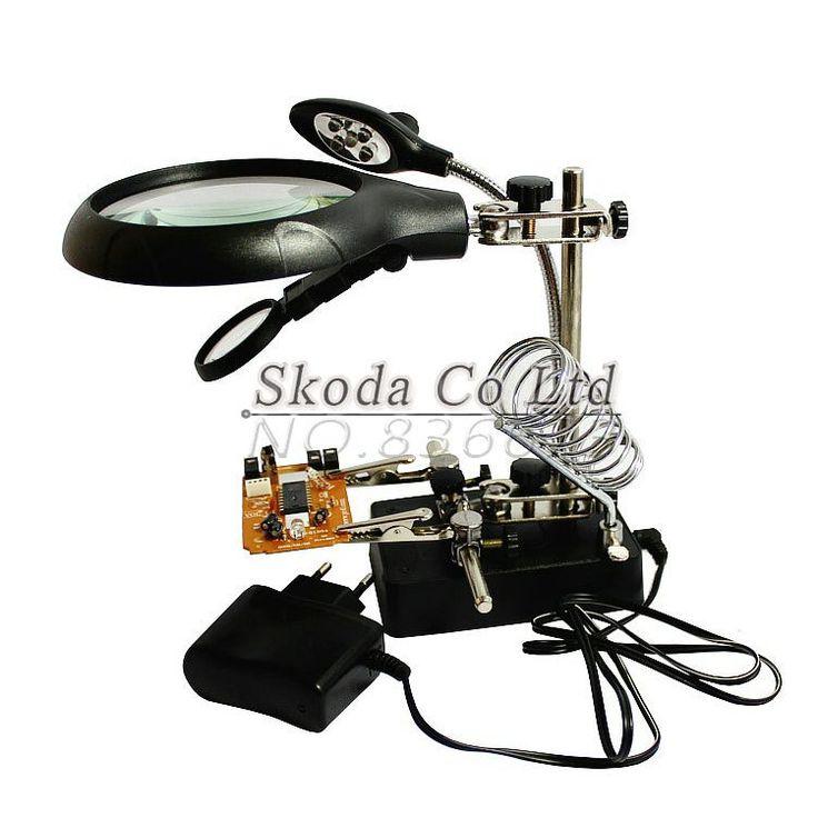 Free Shipping Multifunctional Magnifier Electric iron welding tool+5 LED Lights Desktop BGA workbench motherboard repair Fixture #women, #men, #hats, #watches, #belts, #fashion