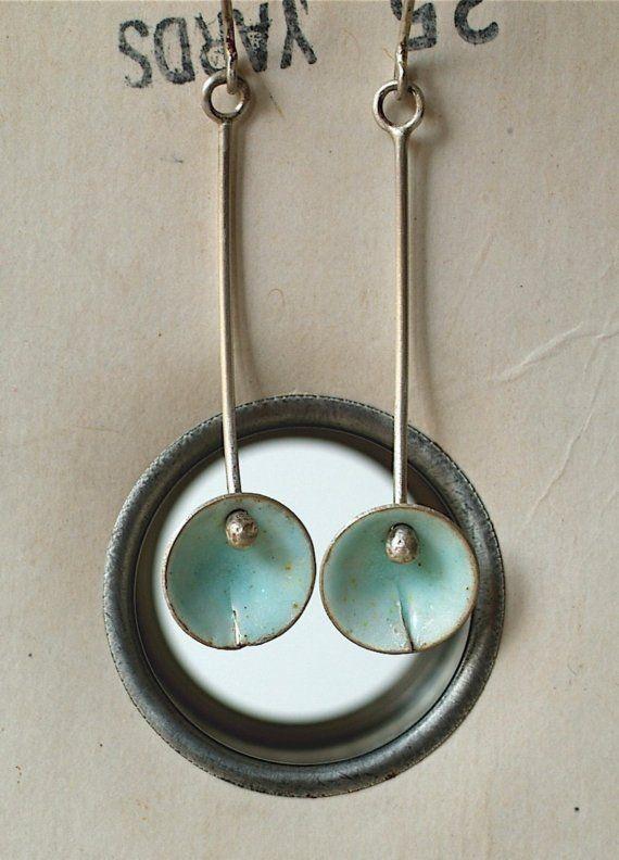 Aqua Ocean Blue Enamel Earrings by kathiroussel on Etsy