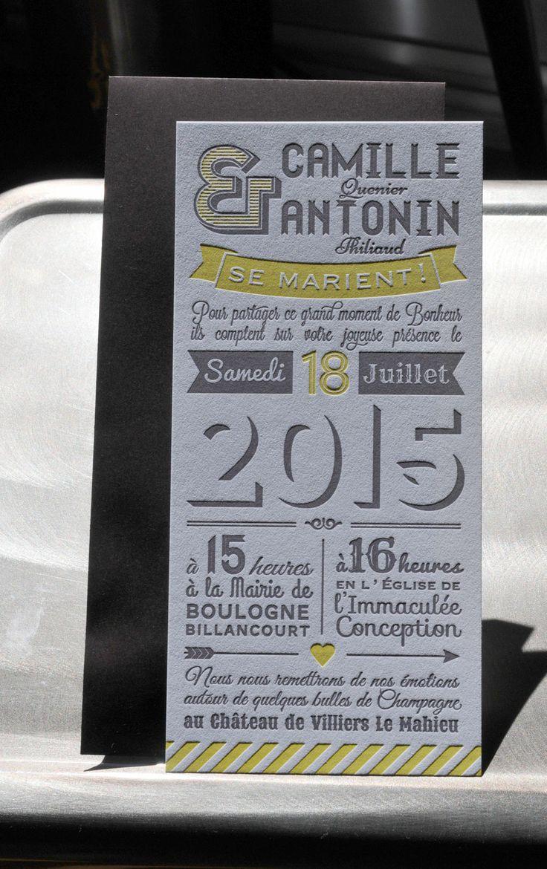 """Faire Part Letterpress """"Déclaration"""" jaune et gris. Création Les-Libellules.fr"""