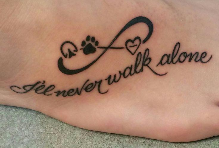 My First Tattoo! Horse hoof print, dog paw print and heart infinity #foottattoo #hoofprint #pawprint #infinity #illneverwalkalone