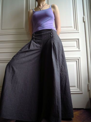 Les Fées Tisseuses :: [Pantalon] Jupe-culotte à pont