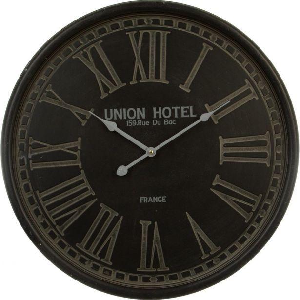 """Horloge métal noir effet patiné """"Union Hotel"""" chiffres romains gravés D52cm"""