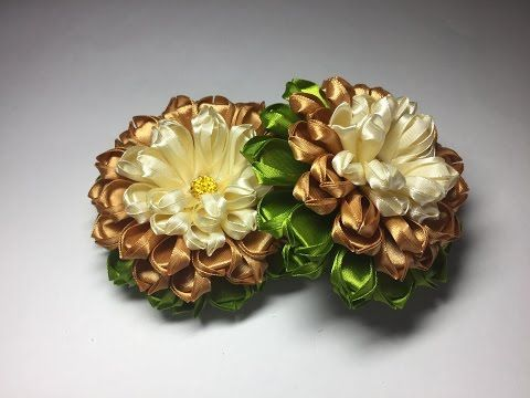 Канзаши резиночка цветок из лент/МК/DIY/Kanzashi Scrunchy with flowers / Новинка - YouTube