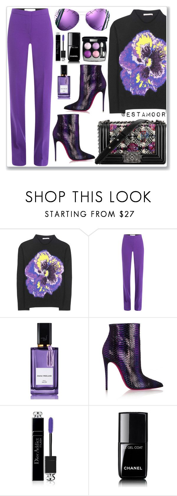 """""""purple"""" by estamoor on Polyvore featuring мода, Christopher Kane, Victoria, Victoria Beckham, Diana Vreeland, Chanel, Christian Louboutin и Christian Dior"""