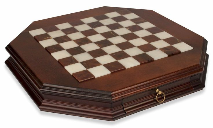 Alabaster Octagon Chess Case - The Chess Store
