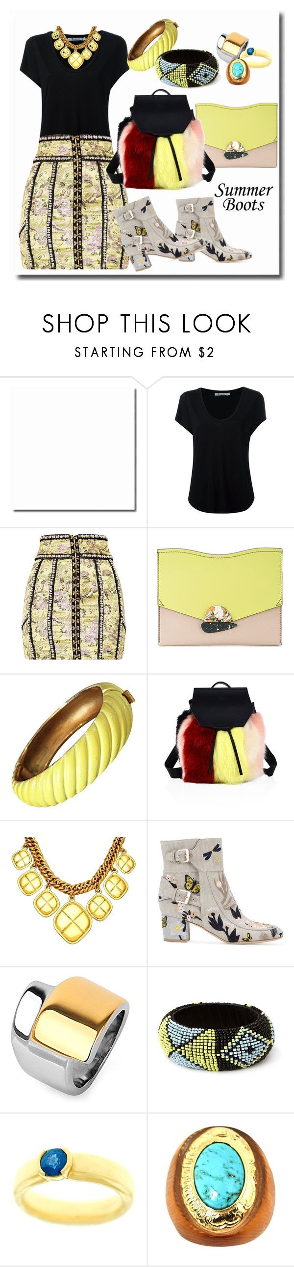 """""""Walk This Way: Summer Booties"""" by kareng-357 ❤ liked on Polyvore featuring Alexander Wang, Proenza Schouler, Trifari, Kendall + Kylie, Chanel, Laurence Dacade, West Coast Jewelry, Forever 21, Tiffany & Co. and Alexis Bittar"""