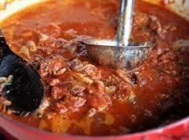 Dad's Italian Sunday Gravy #meat #Italian sausage #flank steak #main-dish #pasta #country-style spareribs #italian gravy #justapinchrecipes
