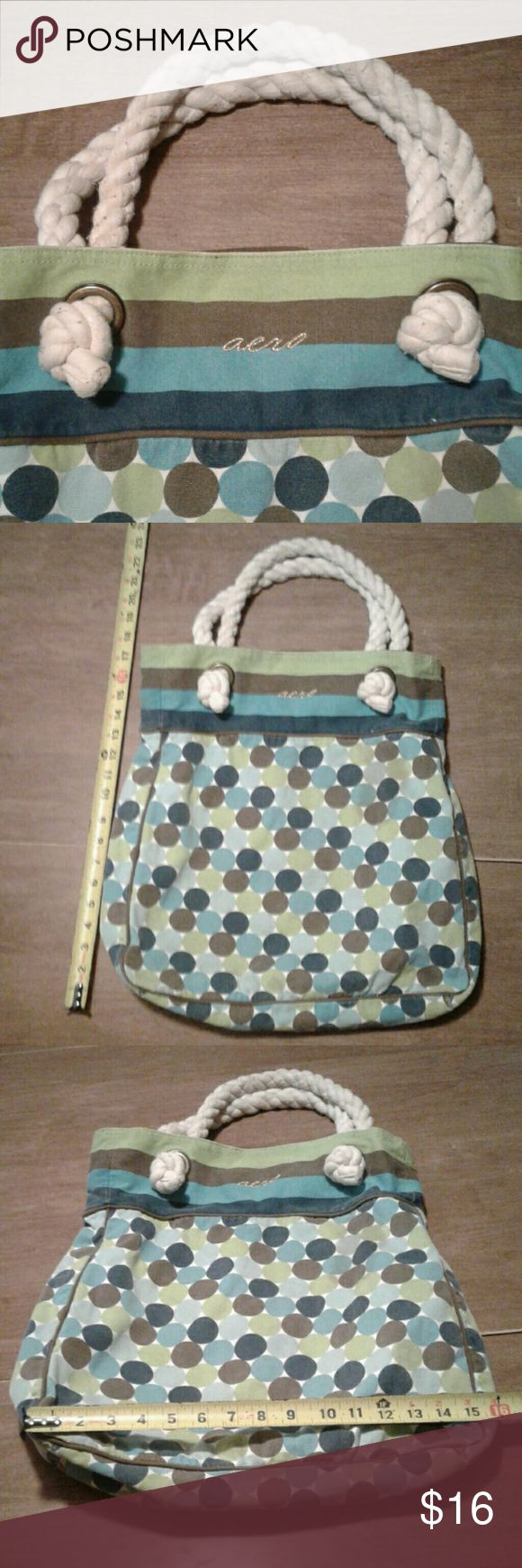 """HUGE Fabric Aeropostale Shopping Tote Yacht Rope Awesome big beach bag / shopping tote / overnight bag from Aeropostale.  Sturdy fabric and thick yacht rope carry handles. Turquoise,  navy, green, and white. Measures about 16"""" wide, 18"""" tall, 4"""" deep with a 7"""" strap drop. Aeropostale Bags Hobos"""