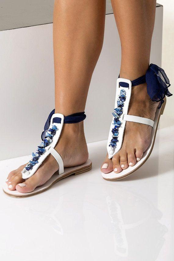 Azul de novia sandalias sandalias planas de la boda algo