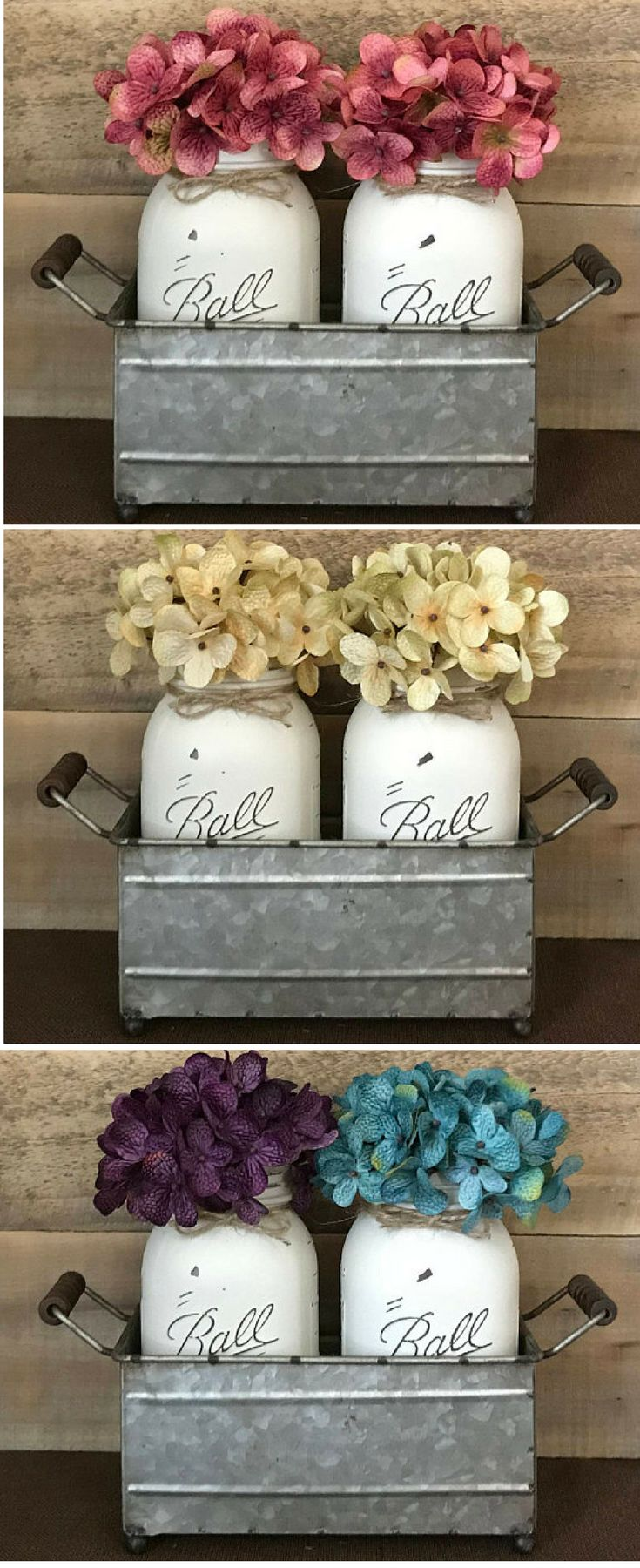 Perfect for dining table, kitchen table or island, coffee table, mantel....adds a pop of color and a touch of spring! Love hydrangeas! Mason Jar Centerpiece, Dining Room Centerpiece, Farmhouse decor, Rustic decor, Home Decor, Shabby Chic, living room deco