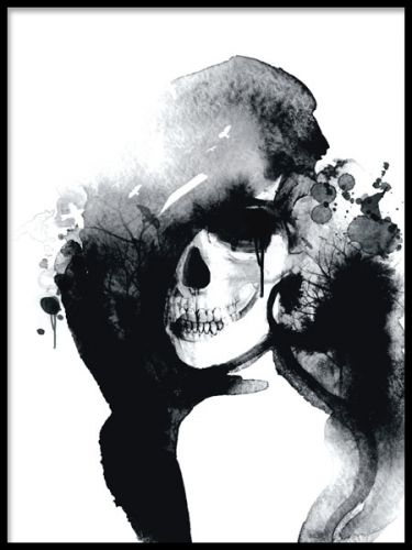 Aestetic poster with a woman-shaped skull in watercolor.This print really has a fahionable feel to it! The poster looks fabulous in a sleek, black frame and goes well with some of our other art posters and prints. Desenio.co.uk
