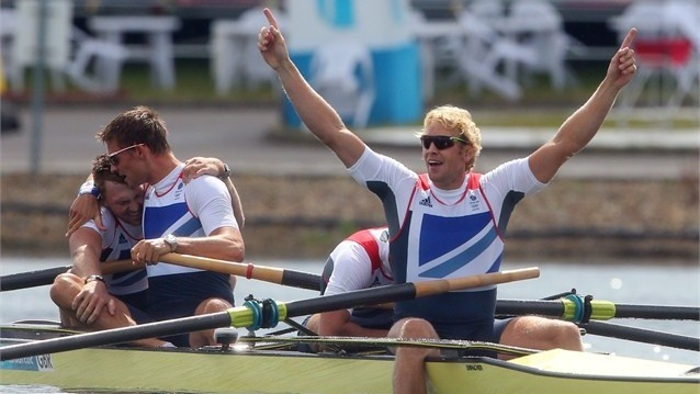 Alex Gregory, Pete Reed, Tom James and Andrew Triggs Hodge of Great Britain celebrate after winning gold in the men's Four final on Day 8 of the London 2012 Olympic Games at Eton Dorney