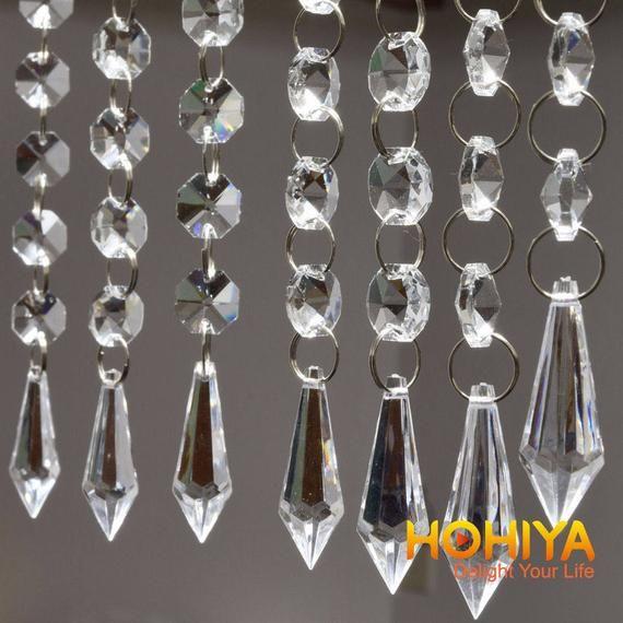 30FT Acrylic Crystal Bead Chandelier Garland Hanging Wedding Curtain Decor