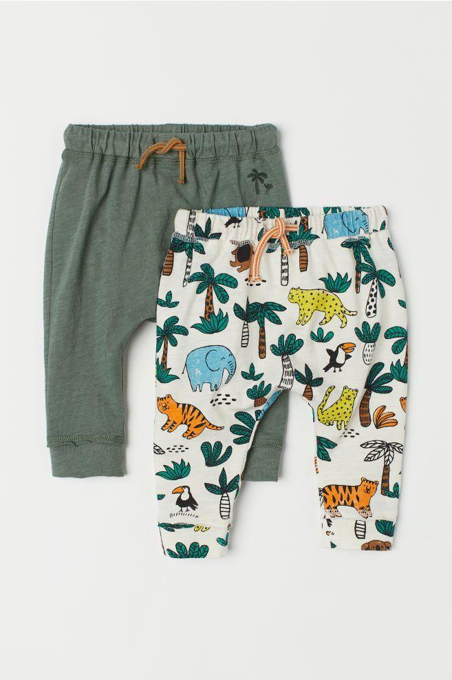 Pack De 2 Pantalones De Punto Verde Caqui Ninos H M Es Ropa Para Bebe Varones Ropa De Bebe Varon Pantalones Bebe
