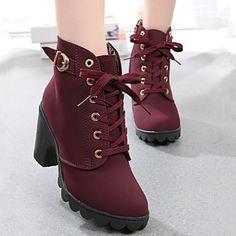 Calçados Femininos - Botas - Conforto / Botas Cano Curto - Salto Grosso - Preto / Amarelo / Verde / Vinho - Courino - Social / Casual de 4422520 2016 por R$95,21