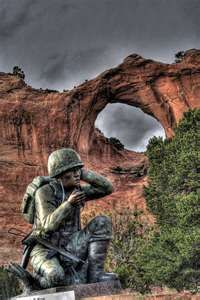 Navajo Code Talkers Memorial at Window Rock, Arizona, honors the Navajo who served in the military during WWII.  The Navajo used their native language to create a code that was never broken by the enemy