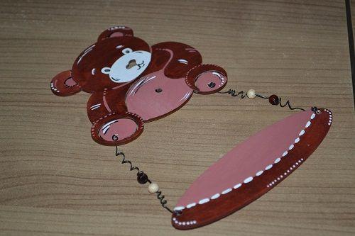 Medvídek - dřevěná jmenovka na dveře