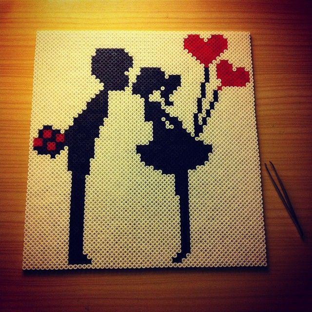 Love perler beads (3132 beads/ 26x28 cm) by larspow - Original design: http://www.pinterest.com/pin/374291419003188766/