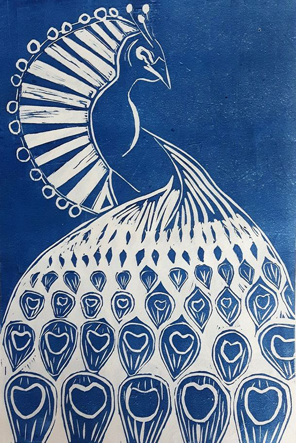 Peacock, Linocut 20x30 cm 2017