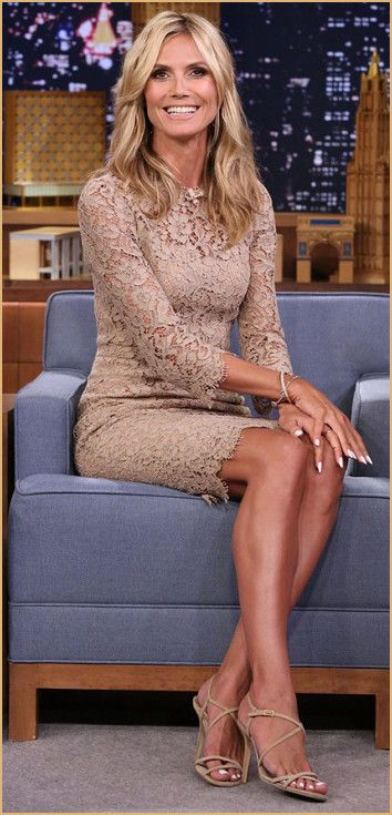 Heidi Klum Nude Outfit at 'The Tonight Show' with Jimmy Fallon. More details about this look at Nudevotion.com