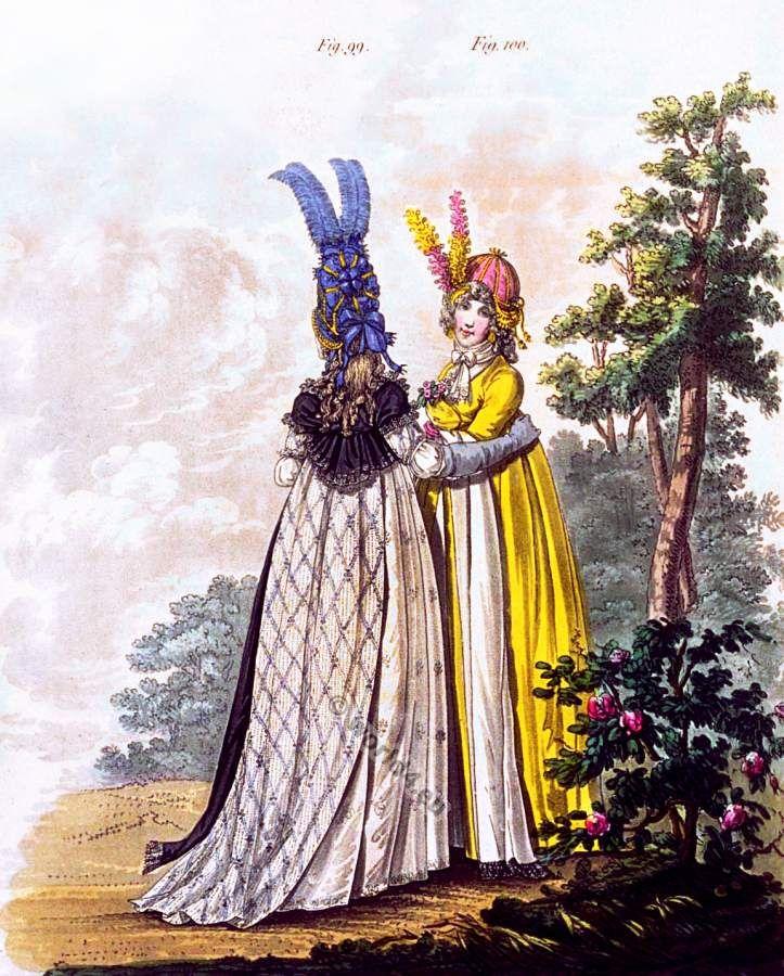 Regency fashion. Georgian fashion costume period. 1796