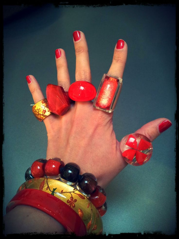 Gold & Red fingers #ZSISKA