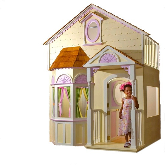 Super cute life-sized dollhouse at http://www.houzz.com/projects/82280/Girls-Doll-House-Bed-with-Slide---Staircase